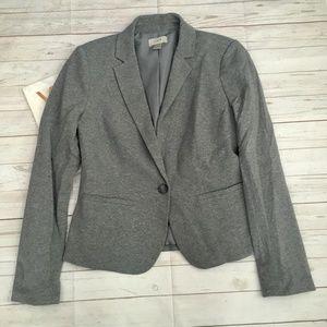 loft womens s grey cotton blend blazer casual spri